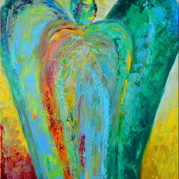 Angel Art Guardian Angel  Original Painting On Canvas 30 x 40  Expressionist Colorful by Claire McElveen