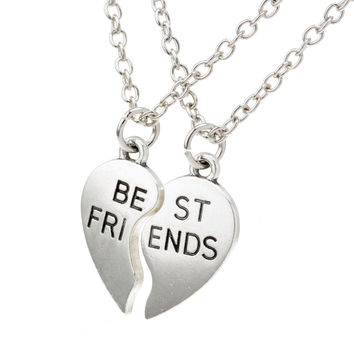 New collier choker necklace heart pendant pieces broken two best friend friendship forever women necklace jewelry collares mujer+Christmas gifts