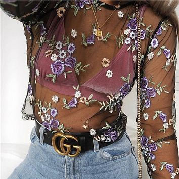 Gauze Flower Embroidery Long Sleeve Shirt Top Tee