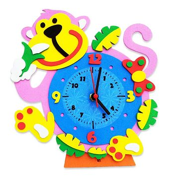 3D Cartoon Animal Learning Clock Kids Girls Puzzle Toys DIY Kids Arts Crafts Kids Birthday Educational Toys Randomly Sent