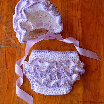Baby girl Hat bonnet ruffle diaper cover bloomers girl ruffle bonnet newborn hat  newborn photo Prop newborn 0 3 6 12 months