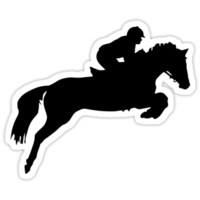 Horse Jumper Design in Black on a Sticker/Decal or T-Shirt