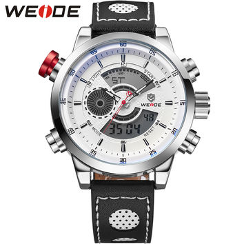 Casual Watch Men Leather Strap Analog Digital Dual Time Zones Date Alarm Stop Watch Display Mens Water Resistant Watches