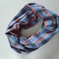 Denim Plaid scarf, Warm Blue Infinity Scarf, A1