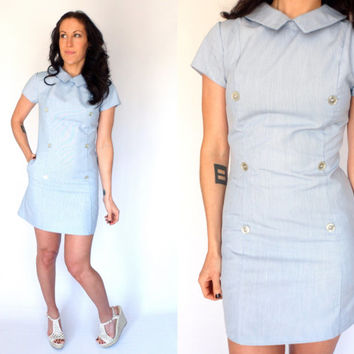 Vintage Baby Blue Short Sleeve Housekeeper Uniform Maid Nurse Waitress Fitted Mod Mini Dress 60's 70's
