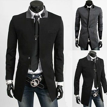 Slim Fit Men Fashion Long Blazer Coat