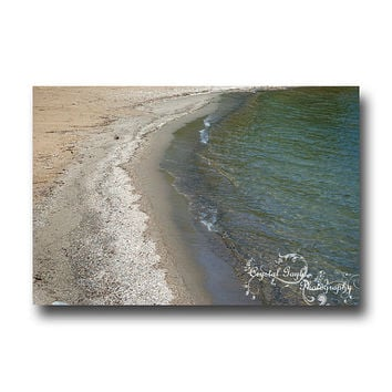 Water Photography Beach Decor Lakeshore Cottage Art Print Nature Manitoba Canada Sea green coaster greeting card calendar