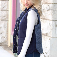 Sweater Weather Contrast Back Quilted Vest {Navy}