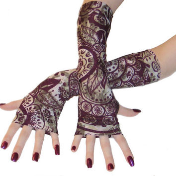 Purple Malice - Arm warmers with a purple gypsy print silky soft fingerless gloves long sleeves bohemian boho gothic