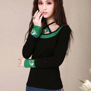 Blusas Femininas Mexican style vintage design long sleeve black green patchwork embroidery t shirt ethnic tee undershirt Alternative Measures