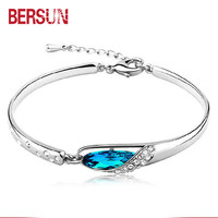 Bersun 2017 New Fashion  Bracelet Women Elegant Crystal Bracelets Fine Jewelry Wholesal