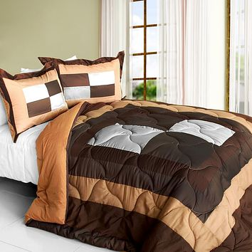 [My Lilith] Quilted Patchwork Down Alternative Comforter Set (Full/Queen Size)