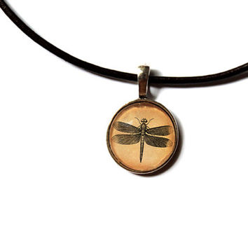 Dragonfly pendant natural history art vintage jewelry Antique style Unisex n47