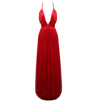 Sexy Long  v-neck Summer Women Chiffon Evening Party Backless  Red Dress