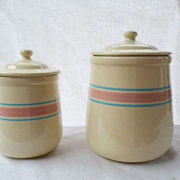 Set of USA Striped Canisters, Stonecraft Cream Colored Blue and Pink Striped Canisters, No 133 and 135 USA Pottery