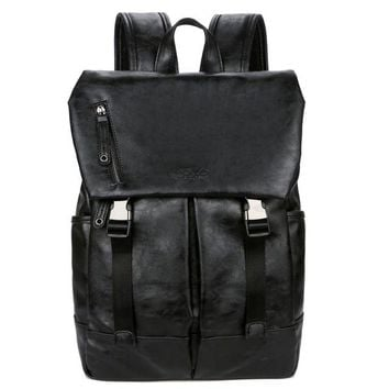 School Backpack trendy VICUNA POLO Anti-theft Large Capacity Men Day Backpack Bag Black Brand Men's  Soft Leather Man Travel Backpack AT_54_4