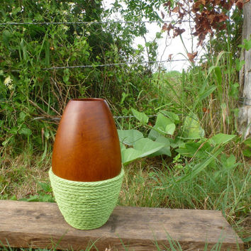 Wood and Rope Vase, Painted Wooden Vase, Apple Green, Rope Spiral, Upcycled Vintage Vase