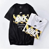Nike Fashion Couple Casual Letter Print Round Collar Sport T-Shirt Top
