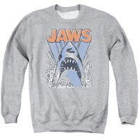 JAWS/COMIC SPLASH - ADULT CREWNECK SWEATSHIRT - ATHLETIC HEATHER -