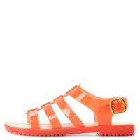 Coral Bamboo Flat Jelly Sandals by