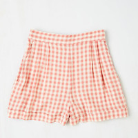 I Think, Therefore I Gingham Shorts in Pink   Mod Retro Vintage Shorts   ModCloth.com