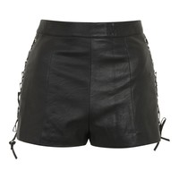 Lace Up Side PU Shorts