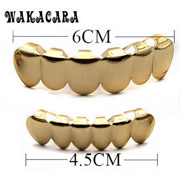 WAKACARA REAL SHINY GOLD COLOR HIPHOP TEETH GRILLZ TOP Or BOTTOM GRILL Hip Hop Bling NEW Grills Gift