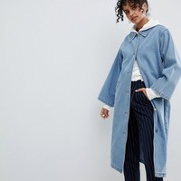 Monki Denim Trench Mac at asos.com