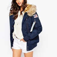 Alpha Industries Polar Hooded Bomber Jacket With Faux Fur Hood