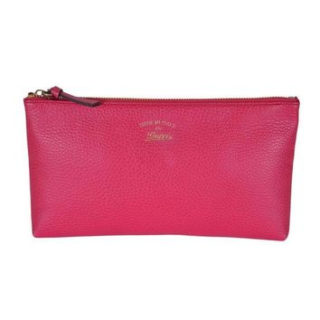 Gucci Pink Grained Calf Italian Leather Trademark-Embossed Swing Clutch 368881
