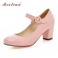 Women Shoes Mary Janes Ladies Mid Heels White Wedding Shoes Thick Heel Pumps Black Pink Beige Large Size 43 9 10