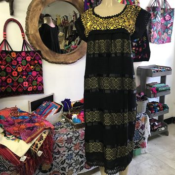 Oaxaca Black Midi Loomed Dress with Yellow Embroidery