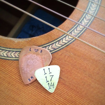 Mini Guitar Pick - Sobriety Gift - Recovery Milestone Medallion Chip - AA Guitar Pick - Handstamped Personalized Pick - Addiction Alanon NA