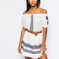 Tularosa Off Shoulder Baxter Dress with Embroidery at asos.com