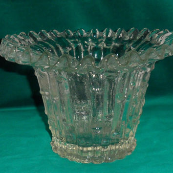 VINTAGE LACE FLUTED Edged Clear Glass Table Vase/Made In Italy/1960s/Thick Clear Glass Floral Container/4 Flower Arranging/Very Thick Glass