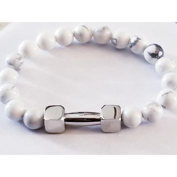 Howlite Stainless Steel Beaded Bracelet