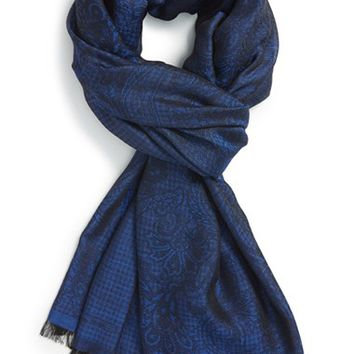 Men's Etro Houndstooth Paisley Scarf - Blue