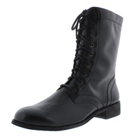Walking Cradles Womens Kateri 2 Stacked Heel Padded Insole Combat Boots