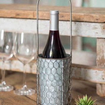 Chicken Wire Wine Bottle Carrier