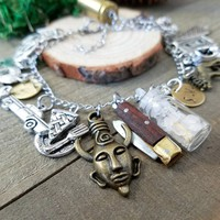 Supernatural charm bracelet | functional mini pocket knife