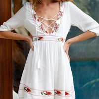 White Plunge Lace Up Front Embroidery Trim 3/4 Sleeve Dress