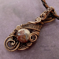 Copper wire wrapped pendant, Wire Wrapped jewelry handmade, copper jewelry, woven wire jewelry, pendant necklace, Mexican Laguna Lace Agate