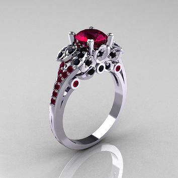 classic 14k white gold 10 ct red garnet black diamond blazer wedding ring r203 14kwgbdrg