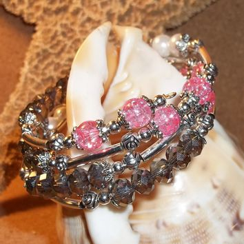 Pink Glass Crackle Beads, White Pearl Beads & Grey Swarovski Crystal Wrap Bracelet