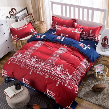Parkshin Bedding Set London Big Ben Comfort Duvet Cover Sheets Set Bedspread Double Bed Laying Queen King Bed Linens Bedclothes