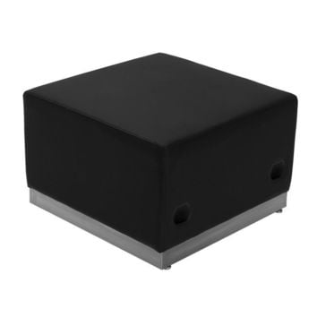Alon Series Black Leather Ottoman with Brushed Stainless Steel Base