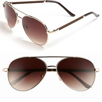 Women's FE NY 56mm Aviator Sunglasses - Gold/brown