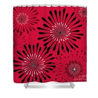 Red and Black Abstract Floral Shower Curtain
