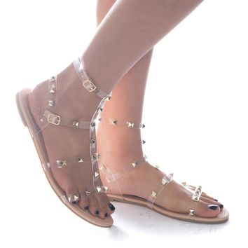 Aurora248 by Liliana Gilded Pyramid Stud Jelly Clear Lucite Gladiator Cage Flat Sandal