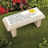 Solar Lighted Heart Memorial Accent Bench Grave Marker Yard Garden Decor